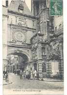 ROUEN . LA GROSSE HORLOGE . CARTE TRES ANIMEE AFFR SUR RECTO - Rouen