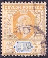 CEYLON 1903 KEDVII 4c Orange-Yellow & Blue SG267 Used - Ceylon (...-1947)