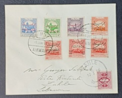 BL Jordan FDC Cover From AMMAN To ZAHLE 5-1-56 Franked With 7 Stamps. Lebanon Tax Due Stamps For Post Restante. RARE. - Líbano