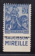 PUBLICITE: JEANNE D'ARC 50C BLEU SAUCISSON MIREILLE BAS ACCP 605* Cote 8E - Advertising