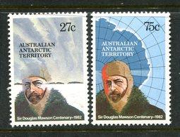 Australian Antarctic Territory 1982 Birth Centenary Of Douglas Mawson Set MNH (SG 53-54) - Australian Antarctic Territory (AAT)