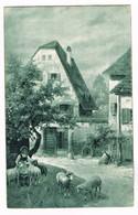 CPA N&b Paysage De Ferme: Fermière Et Ses Moutons - 1914 - Personnages