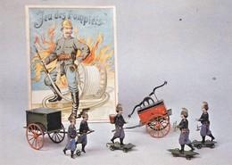 RARE . CPM 10x15 . Boîte De Jouets SAPEURS-POMPIERS De Tôle Peinte (1880) Musée Du Jouet . POISSY (78) - Sapeurs-Pompiers