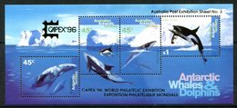 Australian Antarctic Territory 1996 Whales & Dolphins - Capex '96 MS MNH (SG MS112) - Unused Stamps