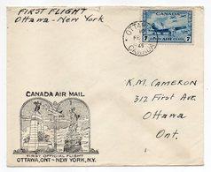 Canada--1946--lettre De OTTAWA à NEW-YORK--1er Vol Ottawa-New-York(USA)-timbre Avion 7cts Seul Sur Lettre - 1937-1952 Reign Of George VI