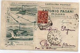 MILANO - Commerciale - ANTONIO PAGANI - FABBRICA TELERIE TOVAGLIERIE - VIAGGIATA - Milano (Mailand)