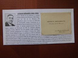 Réunion : Carte De Visite Et Biographie De Léonus Bénard (1882 / 1952) Sénateur De La Réunion - Cartoncini Da Visita