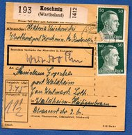 Colis Postal  -  De Koschmin ( Wartheland )   - Pour Waldheim - Covers & Documents