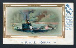 "C1900-3 ALLAN LINE MENU TOP POSTCARD -- RMS ""IONIAN"" -- CLASSIC CARD - Piroscafi"