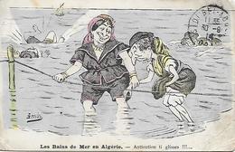 Algérie )  Les Bains De Mer En Algérie  -  Attention Ti Glisse  !!! - Autres