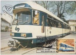 Maximumkarte 1988 - Mi 1917 (11) : 100 Jahre Wiener Lokalbahnen , SST 2500 Baden Bei Wien - 1981-90 Covers