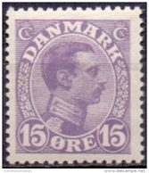 DENEMARKEN 1913-1925 15öre Violetlila Christian X PF-MNH - 1913-47 (Christian X)