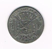 //  LEOPOLD II  1 FRANK  1867  FR ZILVER  SMALLE BAARD - 1865-1909: Leopold II