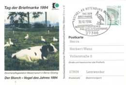 5259  Cigogne, Vache: Entier (c.p.) D'Allemagne, 1994  -  Stork, Cow Stationery Postcard From Germany. Pictorial Cancel - Storchenvögel