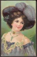 Jolie Carte Fantaisie 1910 - Portrait Femme Au Chapeau - Gaufré - Women