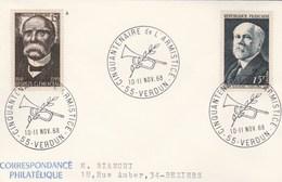 Enveloppe Cachet Cinquantenaire De L' Armistice 55 VERDUN 10 - 11/11/1968 - Timbres Clemenceau Et Poincaré - Storia Postale