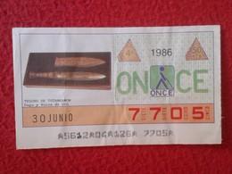 CUPÓN DE ONCE SPANISH LOTTERY CIEGOS SPAIN LOTERÍA ESPAÑA BLIND 1986 ANTIGUO EGIPTO OLD EGYPT TESORO TUTANKAMON DAGA.... - Billetes De Lotería