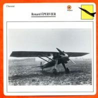 Fiche Aviation Renard EPERVIER  / Avion Chasseur Belgique Avions - Aviones