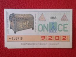 CUPÓN DE ONCE SPANISH LOTTERY CIEGOS SPAIN LOTERÍA ESPAÑA BLIND 1986 ANTIGUO EGIPTO OLD EGYPT COFRECILLO TUT ANJ-AMÓN - Billetes De Lotería