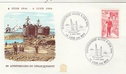 Enveloppe Cachet  Débarquement Alliés 6 Juin 1944 14 Lion Sur Mer  6/6/1984 Timbre De Gaulle - Marcophilie (Lettres)