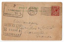 Grande-Bretagne--1923- Carte Postale LONDRES Pour MARSEILLE (France)-timbre -cachets--Bank Of Liverpool - 1902-1951 (Rois)
