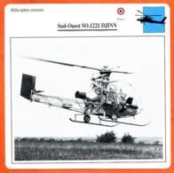 Fiche Aviation Sud Ouest SO 1221 DJINN   / Hélicoptère Terrestre  France Avions - Aviones