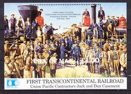 Isle Of Man 1992 First Transcontinental Railroad M/s ** Mnh (43505B) - Man (Eiland)