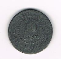 // RARITEIT  ALBERT I  - 10 CENTIEM 1916 FR/ VL DUITSE BEZETTING Achterkant 2 CENTIEM - 1909-1934: Albert I