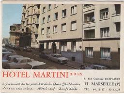 Dépliant Publicitaire Hôtel Martini à Marseille  Dans Les Années 60 - Publicités