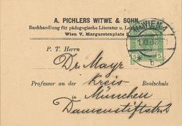 Ganzsache Pichlers Witwe 1906 Wien Buchhandlung Pädagogische Literatur Lehrmittel-Anstalt Briefstück - Covers & Documents