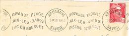 France. Flamme. Machine Krag. Aix Les Bains. Lac Du Bourget. Thermes. Piscine Olympique. - Marcophilie (Lettres)