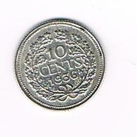 //  NEDERLAND  10  CENTS  1936 WILHELMINA  ZILVER - 10 Cent
