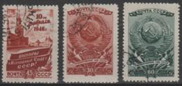 RUSSIA - 1946 Elections. Scott 1026-1028. Used - Usati