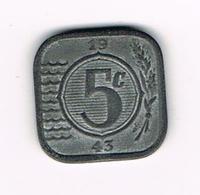 //  NEDERLAND 5 CENTS 1943 - [ 3] 1815-… : Royaume Des Pays-Bas