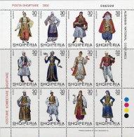 Albania Stamps 2002.ALBANIAN NATIONAL COSTUMES. Set Sheet MNH. Michel 2846-57 - Albania