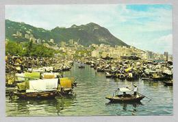 CINA CHINA HONG KONG BOAT PEOPLE IN CAUSEWAY BAY TYPHOON SHELTER 1985 - Cina (Hong Kong)