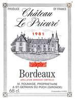 Etiquette Château Le Prieuré 1981 - St Germain Du Puch - Non Classés