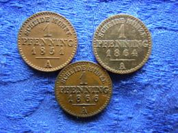 GERMANY PRUSSIA 1 PFENNIG 1851 Cleaned KM450, 1864, 1866 KM480 - [ 1] …-1871: Altdeutschland