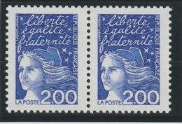YT 3090 **  2,00F Bleu Luquet, Paire, 1 Ex Intégralement PHO Tenant à Normal - Errors & Oddities