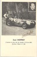 Carte Publicitaire Sports Automobile José Meiffret Sur Talbot Avec Autografe Du Pilote - Cartes Postales