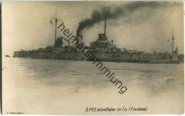 S.M.S. Westfalen Im Eis - Finnland - Foto-Ansichtskarte - Verlag F. Finke Wilhelmshaven - Warships