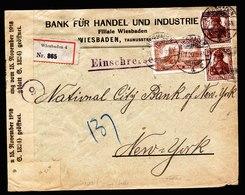A6263) DR Infla R-Brief Wiesbaden 21.07.20 N. USA M. Mi.103b, 114b - Briefe U. Dokumente