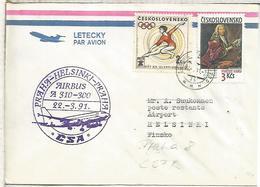 CHECOSLOVAQUIA CC PRIMER VUELO AIRBUS A 310 PRAHA HELSINKI 1991 POR CSA - Corréo Aéreo