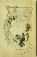 DOUHIN  SIGNED 1900s  POSTCARD -  WOMAN & PEACOCK  (BG415) - Illustratori & Fotografie