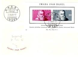 Schweiz Suisse 1948: IMABA Zu WIII31 Mi Block 13 Yv BF 13 FDC Illustriert Blanco Mit O BASEL 21.VIII.48 (Zu CHF 120.00) - FDC