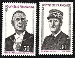 ♥ Lot Polynésie Française YT 89 / 90 - DE GAULLE - 1971 - Neuf XX - Nsc -- MNH - Neufs