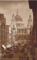 United Kingdom PPC St. Paul's Cathedral And Ludgate Hill Busses & Old Cars LONDON 1938 Echte Real Photo Véritable - St. Paul's Cathedral