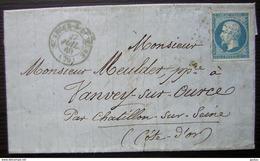 St-Leger-sur-Dheune (Saône-et-Loire) Pc 3890 1860 Lettre Pour Vanvey Sur Ource Par Châtillon Sur Seine - Postmark Collection (Covers)