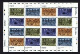 1993  50th World War II  Anniversary   Sc 1502-6  Se-tenant MNH Complete Sheet Of 16 With Inscriptions - Ganze Bögen