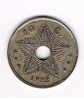 //  CONGO  BELGE  BELGISCH CONGO  10 CENTIMES   ALBERT I   1922 - 1910-1934: Albert I